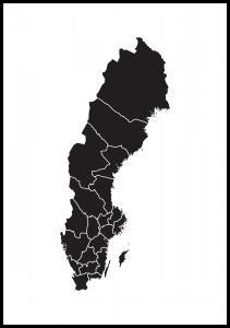 Carte de la Suède Noir Poster
