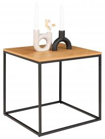 Table d'appoint Vita 45x45 cm - Noir/Chêne