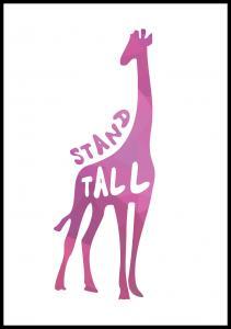 Giraffe stand tall - Pink Poster