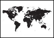 Carte du monde - Noir Poster