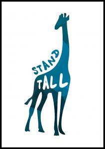 Giraffe stand tall - Blue Poster