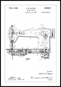 Dessin de brevet - Machine à coudre I Poster