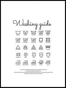 Washing guide white Poster