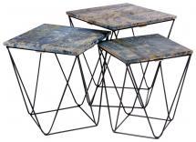 Tables d'appoint Ranchi Bleu - 3 pcs