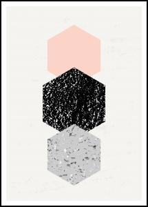 Abstract Hexagons Poster