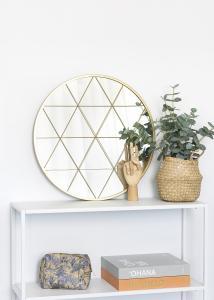 KAILA Miroir rond Triangles - Or 55 cm Ø