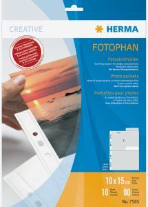 Herma Pochettes photo 10x15 cm Format portrait - lot de 10 - blanc