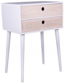 Table de chevet Rimini 32x45 cm - Blanc/Bois